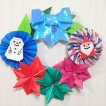 100均 折り紙のクリスマスリースの作り方♪ほっこり可愛い♡